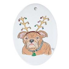 Holiday Bulldog Ornament (Oval)