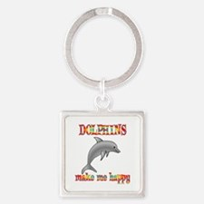 Dolphins Make Me Happy Square Keychain
