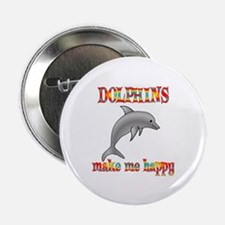 """Dolphins Make Me Happy 2.25"""" Button"""