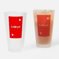 I Miss You Heart Valentines Day Red Drinking Glass