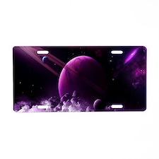 Purple Saturn Aluminum License Plate