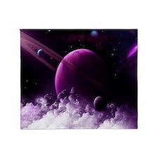 Purple Saturn Throw Blanket