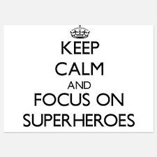 Keep Calm by focusing on Superheroes Invitations