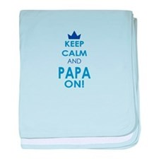 Keep Calm and Papa On baby blanket