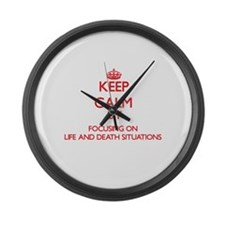 Keep Calm by focusing on Life And Large Wall Clock