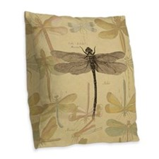 Dragonfly Vintage colorful insect Burlap Throw Pil