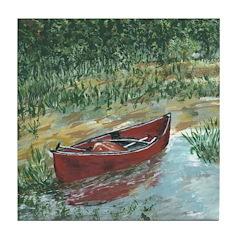 Red Canoe Tile Coaster