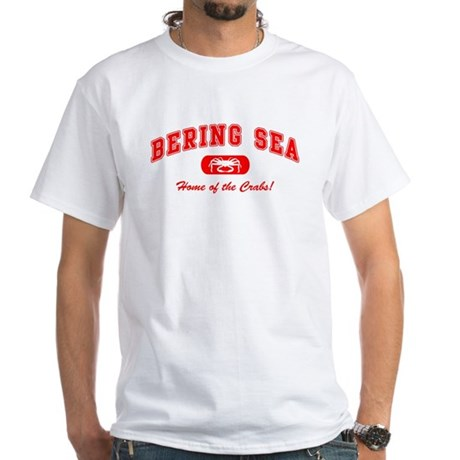Bering Sea Home of the Crabs! Red White T-Shirt