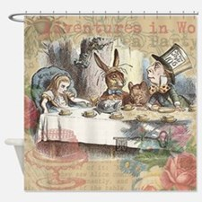 Mad Tea Party Alice in Wonderland Shower Curtain