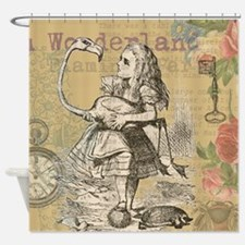 Alice in Wonderland Flamingo Shower Curtain