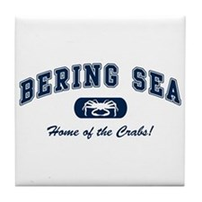 Bering Sea Home of the Crabs! Navy Tile Coaster
