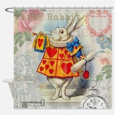 White Rabbit Alice in Wonderland Shower Curtain