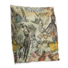 Vintage Octopus and Bathing Beauties Burlap Throw