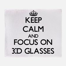 Keep Calm by focusing on 3-D Glasses Throw Blanket