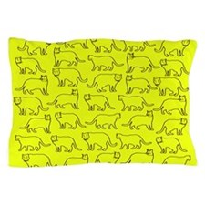 Yelow kitty pattern Pillow Case