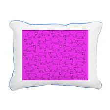 Pink cat pattern Rectangular Canvas Pillow
