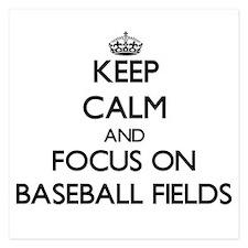 Keep Calm by focusing on Baseball Fiel Invitations