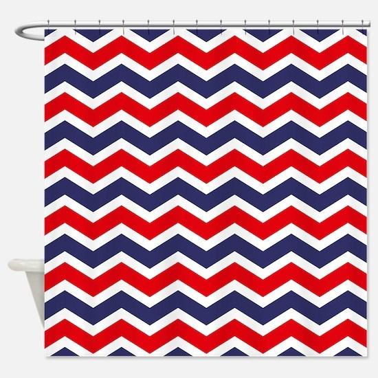 Nautical Chevron Red Shower Curtain