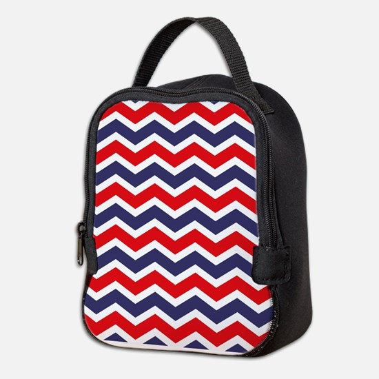 Nautical Chevron Red Neoprene Lunch Bag