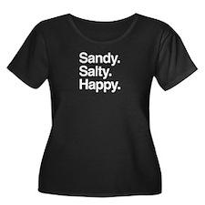 Sandy. Salty. Happy. (white) Plus Size T-Shirt