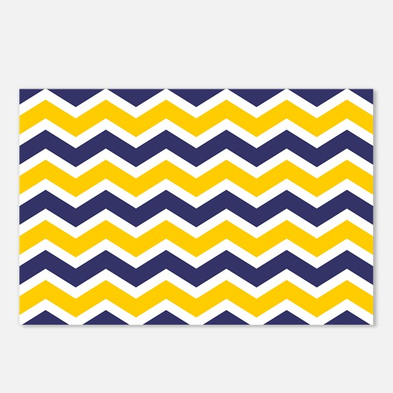 Nautical Chevron Yellow Postcards (Package of 8)