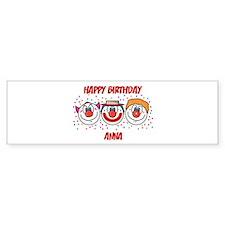 Happy Birthday ANNA (clowns) Bumper Bumper Sticker
