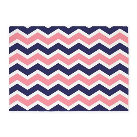 Nautical Chevron Pink 5u0027x7u0027Area Rug