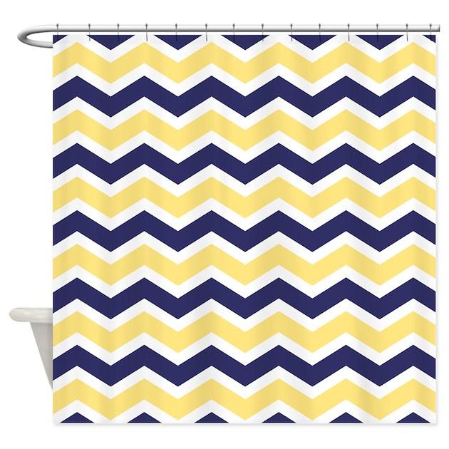 nautical chevron light yellow shower curtain by pinkinkart2