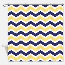 Nautical Chevron Light Yellow Shower Curtain