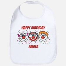 Happy Birthday AMBER (clowns) Bib
