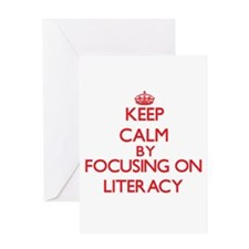 Keep Calm by focusing on Literacy Greeting Cards
