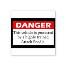 "Cute Poodle Square Sticker 3"" x 3"""