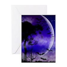 Purple Night Moon Greeting Cards
