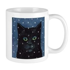 Black Cat in snow storm Mug