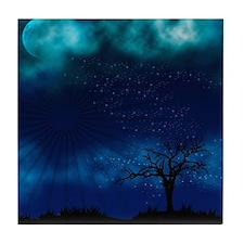 Blue Moon Night Tile Coaster