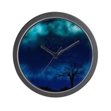 Blue Moon Night Wall Clock