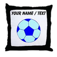 Custom Blue Soccer Ball Throw Pillow