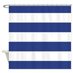 Indigo Blue And White Striped Shower Curtain
