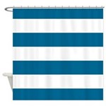 Ocean Blue And White Striped Shower Curtain