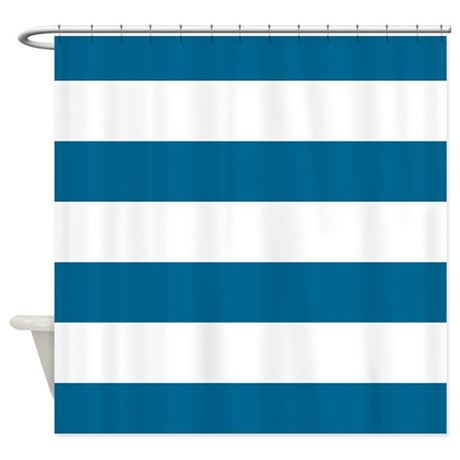 ocean blue and white striped shower curtain by scarebaby