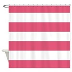 Rose Pink And White Striped Shower Curtain