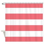 Coral And White Striped Shower Curtain