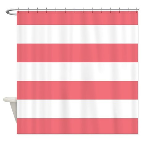 Coral And White Striped Shower Curtain By Scarebaby
