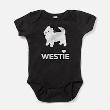 I Love Westie Dogs Baby Bodysuit