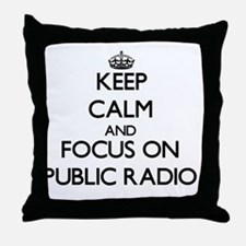 Keep Calm by focusing on Public Radio Throw Pillow