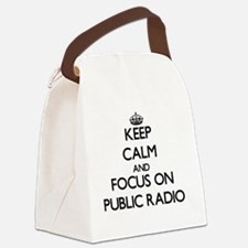 Keep Calm by focusing on Public R Canvas Lunch Bag