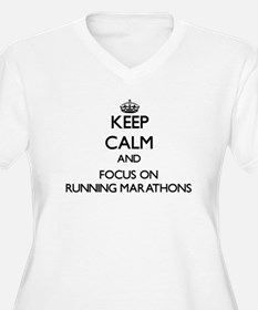 Keep Calm by focusing on Running Plus Size T-Shirt