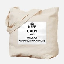 Keep Calm by focusing on Running Marathon Tote Bag