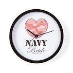 Navy Bride Pink Camo Heart Wall Clock