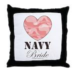 Navy Bride Pink Camo Heart Throw Pillow